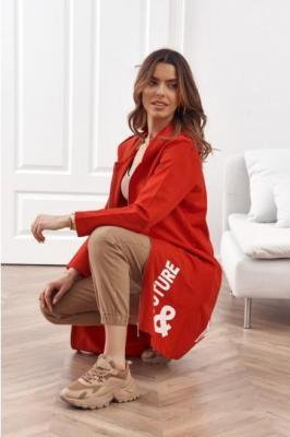 Długa oversizowa bluza z kapturem czerwona 1028