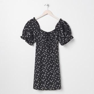 Sinsay - Sukienka letnia w kwiaty - Czarny