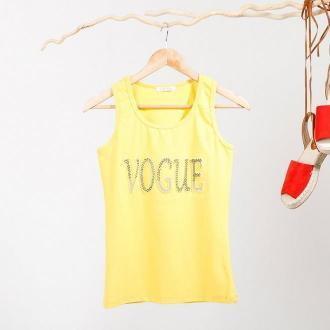 Żółty damski top na ramiączkach z napisem zdobionym cyrkoniami - Odzież