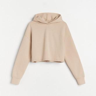 Reserved - Krótka bluza ze strukturalnej dzianiny - Beżowy