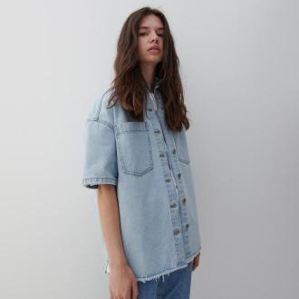 Reserved - Jeansowa koszula oversize - Niebieski
