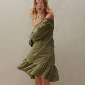 Reserved - Sukienka z dodatkiem lnu - Zielony
