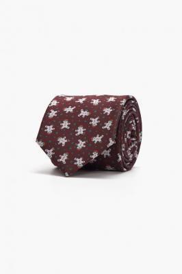 Krawat bordowy w świąteczne wzory Recman XMAS 201