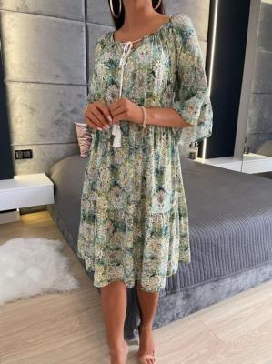Zielona Wzorzysta Sukienka Oversize 6143-26-D
