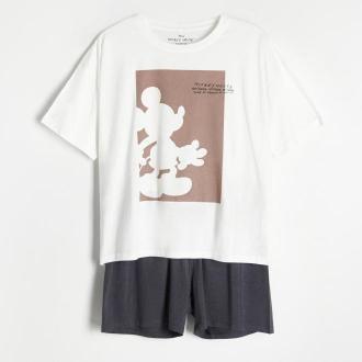 Reserved - Piżama z szortami Myszka Miki - Kremowy