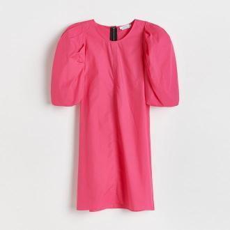Reserved - Bawełniana sukienka mini - Różowy