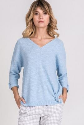 Bawełniany sweter z mankietami