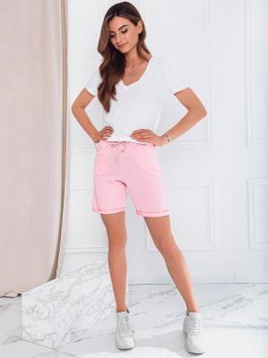 Krótkie spodenki damskie dresowe 011WLR - różowe - XL