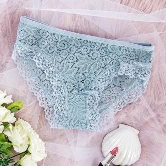 Niebieskie damskie koronkowe figi PLUS SIZE - Bielizna