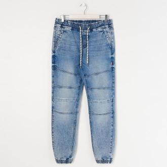 Sinsay - Spodnie jeansowe slim jogger - Niebieski