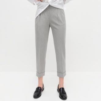Reserved - Eleganckie spodnie z wysokim stanem - Jasny szary