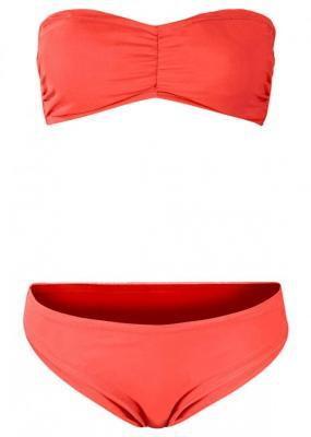 Bikini bandeau (2 części) bonprix pomarańczowo-czerwony
