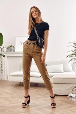 Spodnie jeansowe z wysokim stanem cappuccino 6861