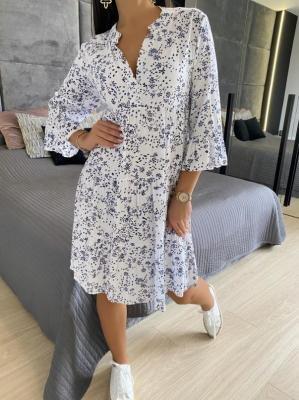 Biała Sukienka Oversize w Kwiaty 5801-127-C