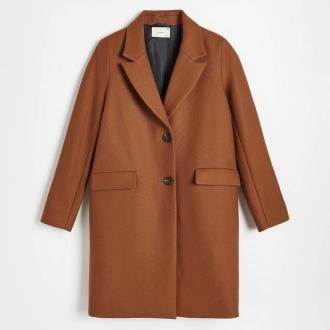 Reserved - Wełniany płaszcz - Brązowy