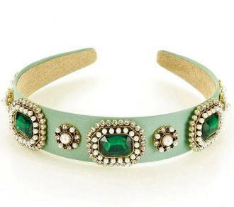 Biżuteryjna opaska na włosy diadem tiara zieleń pistacja MAZZINI