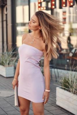 Prążkowana dopasowana Spódnica/sukienka lawendowa FG542