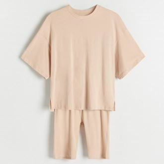 Reserved - Dwuczęściowa piżama z bawełny organicznej - Kremowy