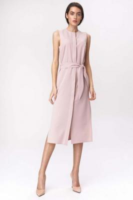 Różowa Prosta Midi Sukienka z Rozcięciami po Bokach