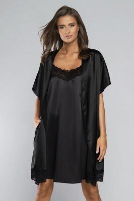 Italian Fashion Dotyk kr.r Nocna szlafrok, czarny