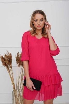Koralowa damska sukienka z falbankami - Odzież