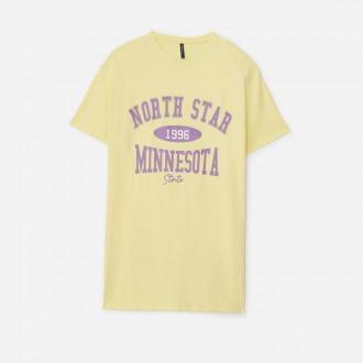 House - T-shirtowa sukienka z nadrukiem - Żółty