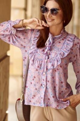 Szyfonowa koszula w kwiaty fioletowa 8100