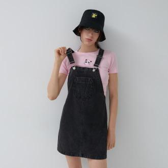House - Denimowa sukienka ogrodniczka - Czarny