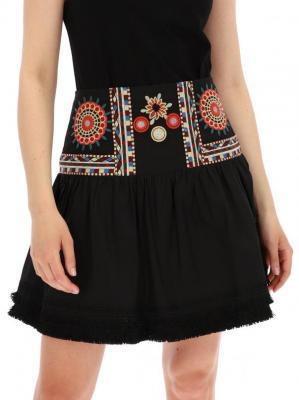 Czarna spódnica z ozdobnym karczkiem Desigual ALEGRE