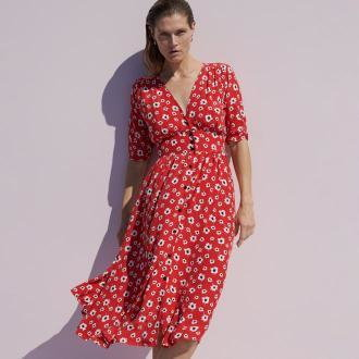 Reserved - Wiskozowa sukienka w kwiaty - Czerwony