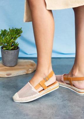 Różowe sandały espadryle ażurowe z zakrytymi palcami Casu C20X4/P