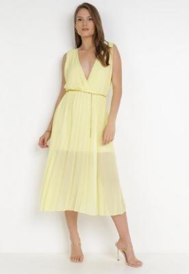 Żółta Sukienka Z Paskiem Hysacia