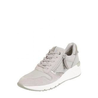 Sneakersy na koturnie ze skóry i tkaniny