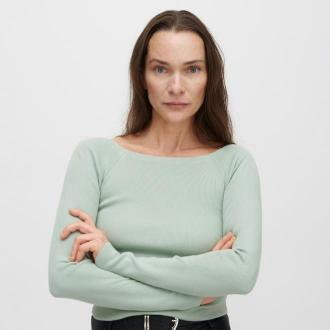 Reserved - Dopasowany sweter z dekoltem w łódkę - Turkusowy