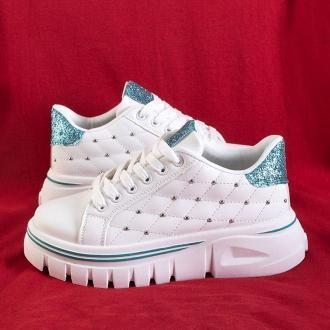 Białe damskie sneakersy z zieloną brokatową wstawką Jemen - Obuwie