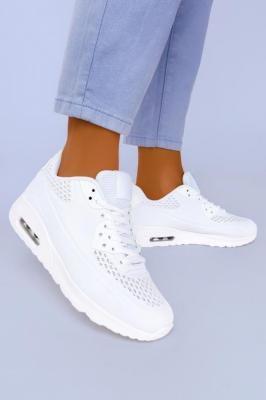 Białe sneakersy na koturnie buty sportowe sznurowane Casu B3363-5