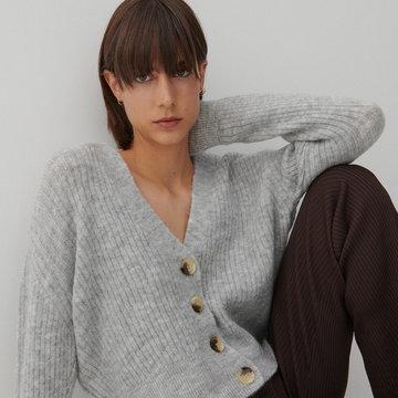 Reserved - Dzianinowy sweter - Jasny szary