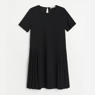 Reserved - Sukienka z gładkiej dzianiny - Czarny