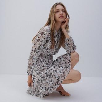 Reserved - Wzorzysta sukienka mini - Różowy