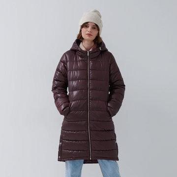 House - Pikowany płaszcz z kapturem - Bordowy
