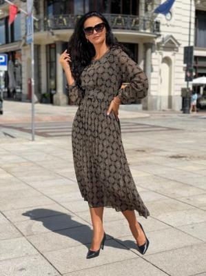 Czarna Sukienka w Brązowy Wzór 6596-305