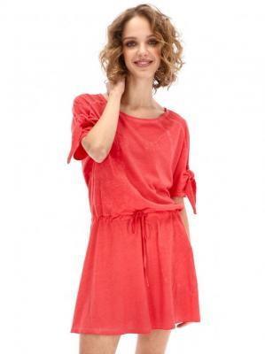 Czerwona sukienka z delikatnym wzorem kwiatów Desigual FATIMA