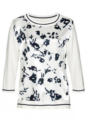 Sweter LENZING™ ECOVERO™ z wstawką z tkaniny bonprix biel wełny - ciemnoniebieski w kwiaty