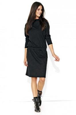 Dresowa Czarna Sukienka ze Ściągaczem