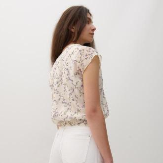 Reserved - Wzorzysta bluzka - Kremowy