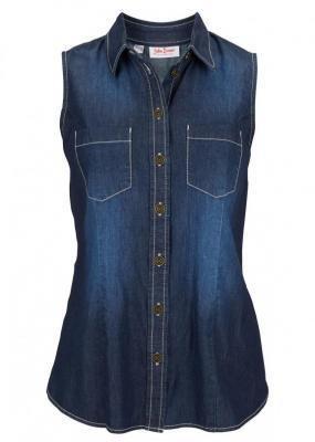 Koszula dżinsowa bez rękawów bonprix ciemnoniebieski
