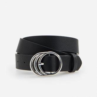 Reserved - Czarny pasek z okrągłą klamrą - Czarny