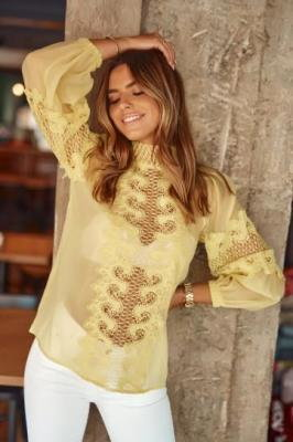 Szyfonowa bluzka damska z koronką żółta 9131