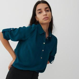 Reserved - Gładka koszula z EcoVero™ - Turkusowy