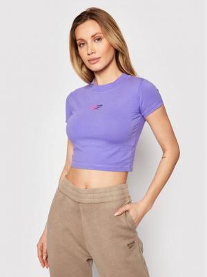 Reebok T-Shirt GJ4910 Fioletowy Slim Fit